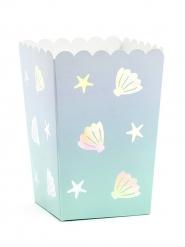 6 scatole per pop corn in cartone narvalo blu