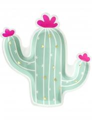 6 piatti a forma di cactus color menta 23 cm