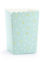 6 scatole da pop corn color menta a pois
