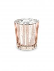 Portacandele in vetro effetto specchio oro rosa 6 cm