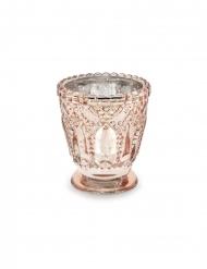 4 portacandele in vetro oro rosa 8 cm