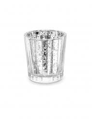 4 portacandele in vetro effetto specchio argento 6 cm