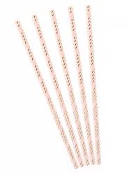 10 cannucce in cartone rosa con righe oro