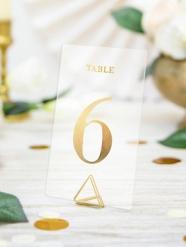 20 segna tavoli trasparenti con numero oro