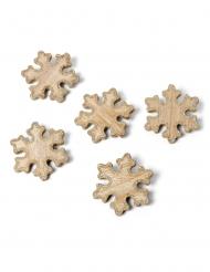 5 decorazioni in legno fiocchi di neve brillantini color rame 6 cm