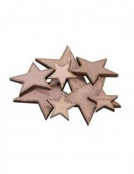12 stelle in legno con paillettes rame