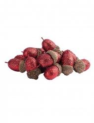 15 Ghiande con paillettes rosse 3 cm
