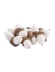 15 Ghiande con paillettes bianche iridescenti 3cm