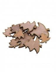 12 Alberelli in legno con paillettes dorate