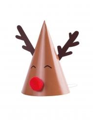 8 cappellini in cartone renna con naso rosso