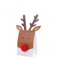 8 scatoline in cartone renna con naso rosso