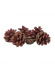 6 Pigne con paillettes rosse 4 cm