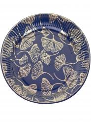 8 piatti in cartone blu foglie di ginkgo oro 23 cm