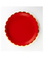 8 piatti in cartone smerlati rosso e oro 23 cm
