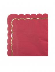 16 tovaglioli di carta smerlati rosso e oro