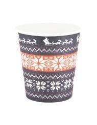 8 Bicchieri di carta maglione natalizio 200ml