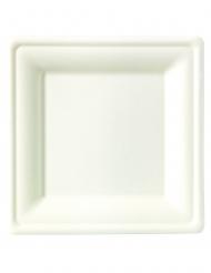 25 piattini bianchi quadrati in fibra di canna 15 cm