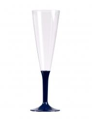 10 calici da champagne piede blu