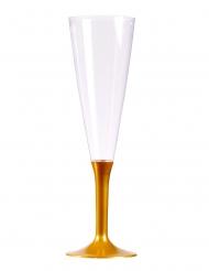 10 calici da champagne piede oro