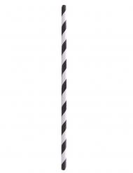 100 Cannuccie di carta a righe bianche e nere 20cm