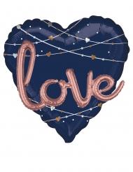 Doppio palloncino in alluminio cuore blu e Love rosa