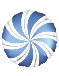 Palloncino alluminio lecca lecca blu e bianco