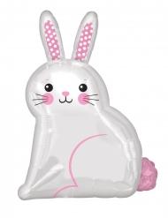 Palloncino alluminio coniglio bianco e rosa