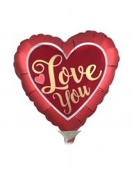 Palloncino alluminio cuore rosso e oro Love you