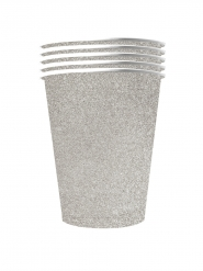10 bicchieri in cartone riciclabile argento