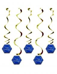 5 sospensioni a spirale Happy Birthday marmo blu e oro