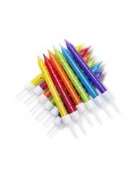 12 Candele di compleanno multicolore con brillantini 7,5 cm