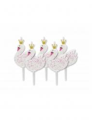 5 candeline di compleanno cigni con brillantini