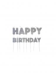 Candeline Happy Birthday argentate