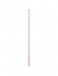 24 cannucce biodegradabili bianche e rosa