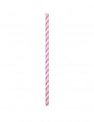 24 cannucce flessibili biodegradabili rosa e bianche