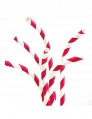 24 Cannucce in cartone flessibile rosse 19,7 cm