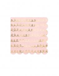 20 tovaglioli di carta rosa cipria con motivi oro