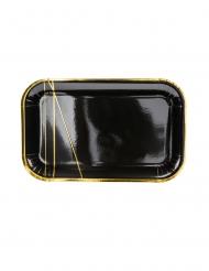 6 piatti rettangolari neri con strisce oro