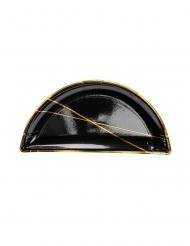 6 piattini in cartone mezzaluna nera e righino oro