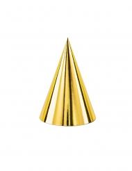 6 cappelli da festa in cartone dorati 16cm