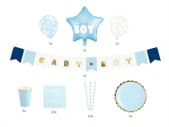 Kit decorazione azzurro Baby shower bambino 49 pezzi