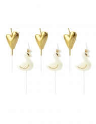 6 candeline cigni e cuori oro