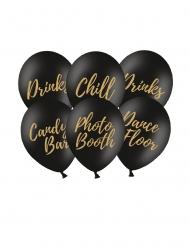 6 palloncini in lattice Party nero e oro 30 cm