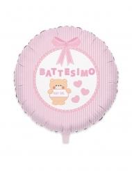 Palloncino in alluminio battesimo Teddy rosa