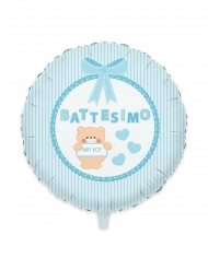 Palloncino in alluminio battesimo Teddy blu