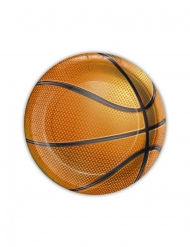 8 piattini in cartone pallone basket
