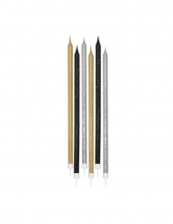 12 maxi candeline brillantini argento oro e nere