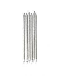 12 maxi candeline brillantini argento