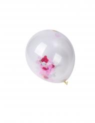 3 palloncini trasparenti con coriandoli a cuore