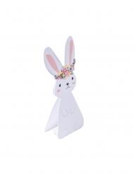 6 segnaposto coniglietto bianco con fiori